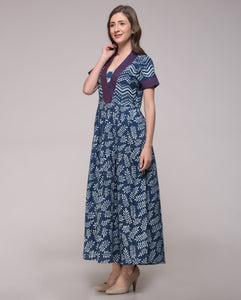 DABU INDIGO PRINTED EBROIDERED V NECK DRESS