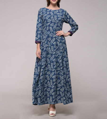 DABU INDIGO DYED LEAF PRINT PLEATED DRESS