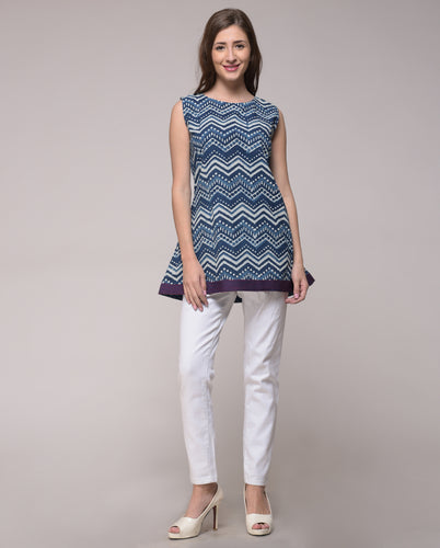 DABU INDIGO PRINTED CHEVRON TOP IN COTTON