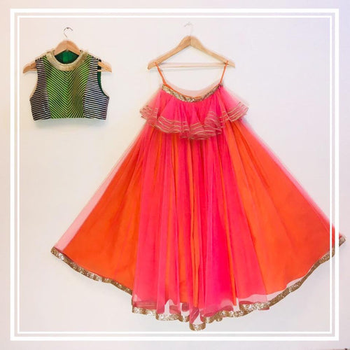 Blue green gota line choli, pink orange tulle lehenga and pink tulle dupatta