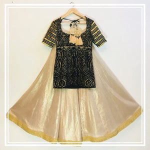 Black dori work jamawer choli ,Golden beige shimmer lehenga and Beige tulle dupatta