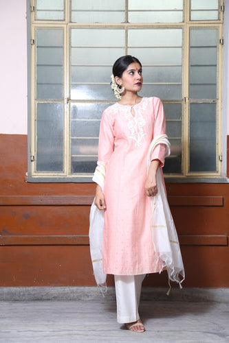 Pastel lavender embroidered straight kurta with ivory flare pants and kasavu dupatta