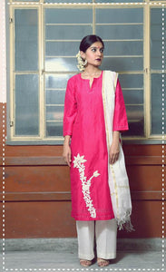 Deep pink embroidered straight kurta with ivory flare pants and kasavu dupatta