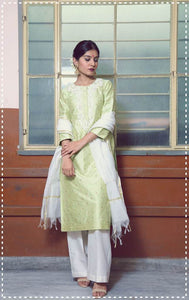 Pistachio silk embroidered straight kurta with ivory flare pants and kasavu dupatta