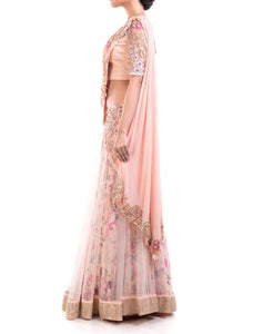Gorgeous Draped Lehenga Gown Pattern With Print & Intricate Embroidery Detailing