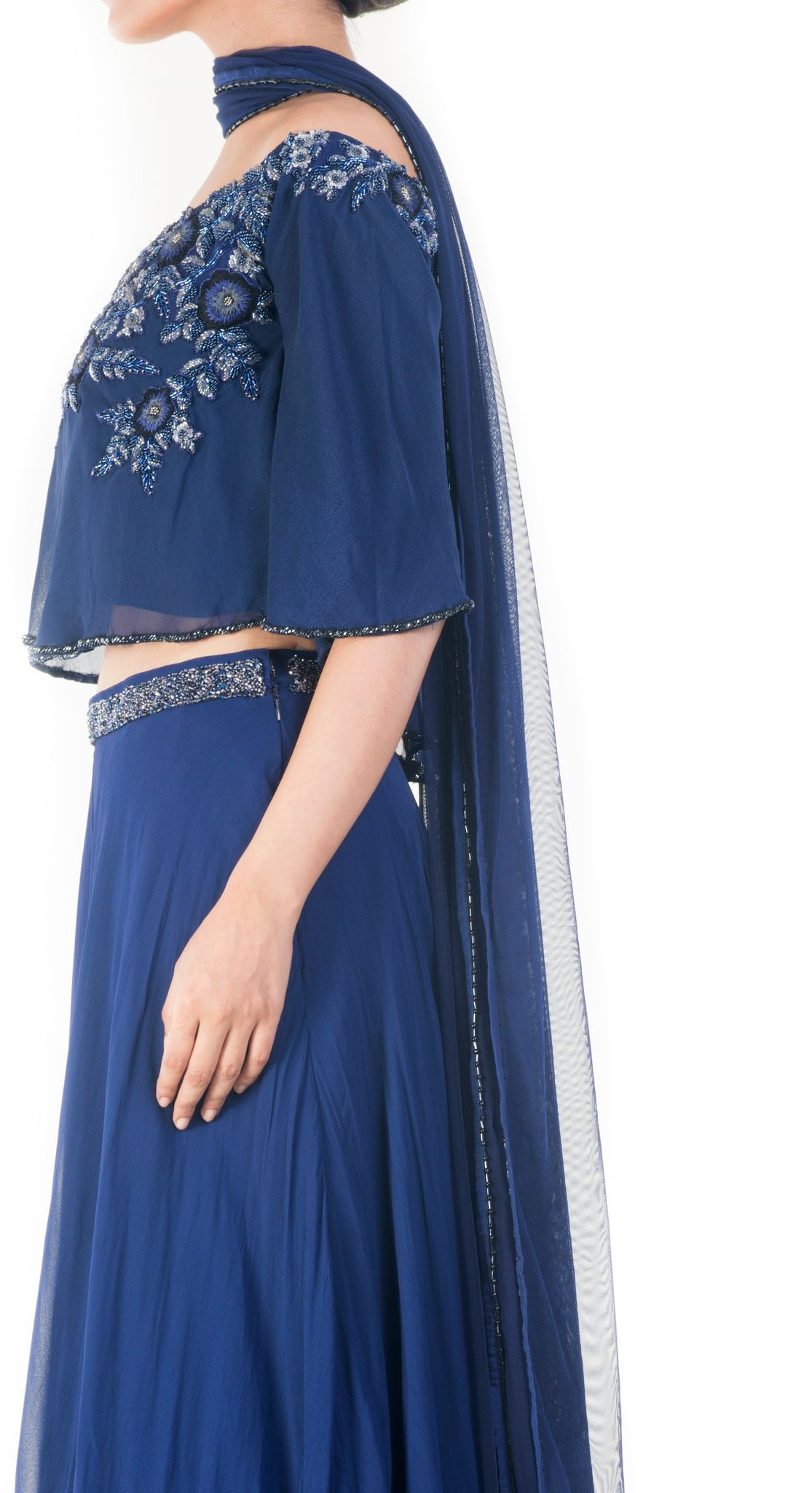 dd8aadcac60565 Royal Blue Offshoulder Cape Lehenga Set – Beorgeous