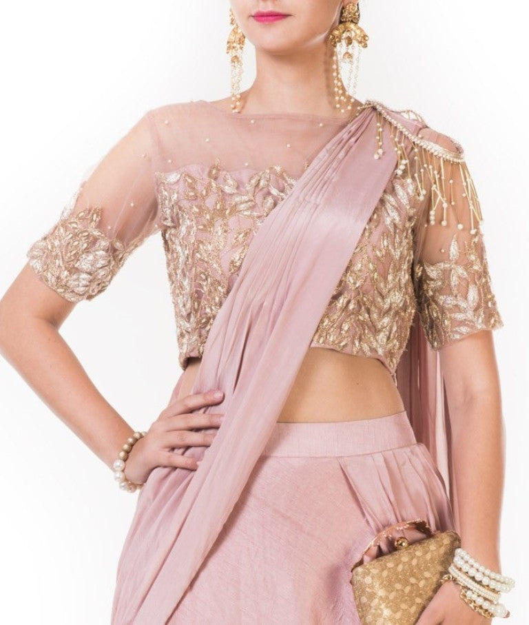 Dark Onion Fringe Drape Lehenga with a Heavily Embroidered Blouse with an Attached Dupatta