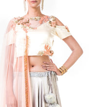 Hand Embroidered Off White Blouse with a Light Grey Lehenga