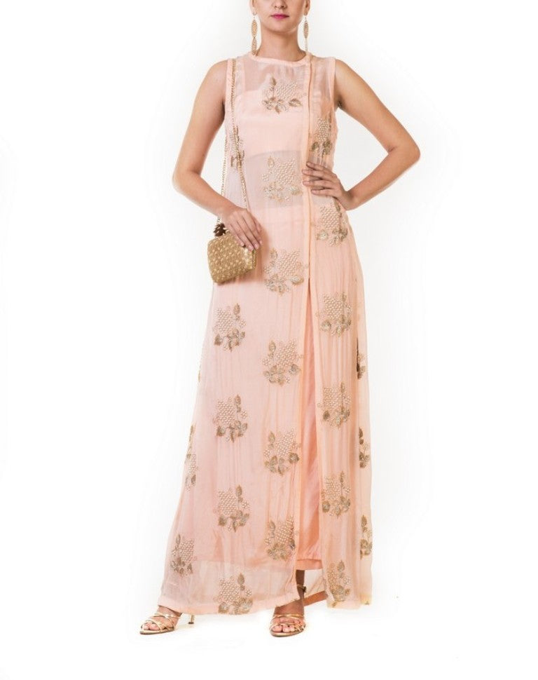 Peach Embroidered Long Jacket Lehenga Set with Floral Motifs