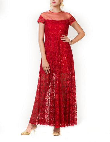 Red Embroidered Tulle Gown