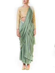 Green Draped Pre-stitched Dhoti Saree with a Hand Embroidred Beige Blouse