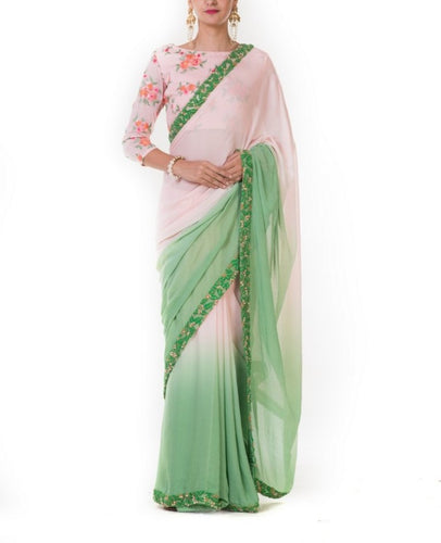 Peach & Green Shaded Classic Saree with Embroidered Border & Blouse