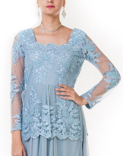 Blue Floral Embroidered Layered Gown