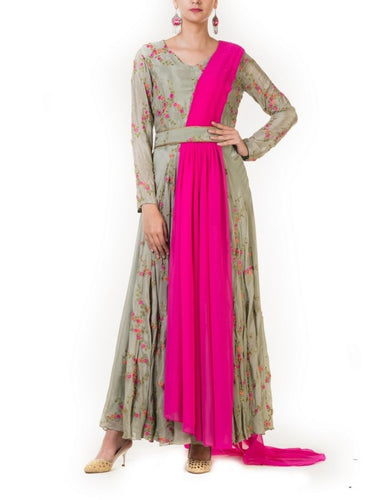 Hand Embroidered Pink & Olive Green Drape Gown