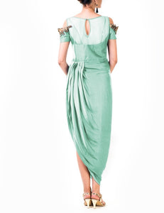 Mint Green Hand Embroidered Cold Shoulder Draped Gown