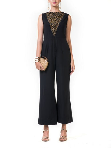 Black Jumpsuit with a Chained Yoke Embroidery