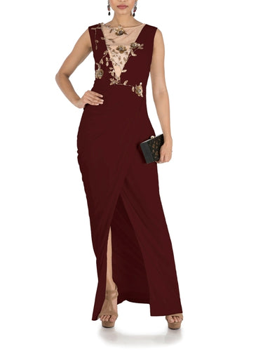 Maroon  Drape Cocktail Dress