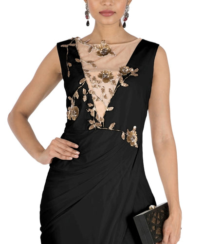 Black Drape Cocktail Dress