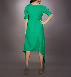 Linen dress with handcrafted neck-piece