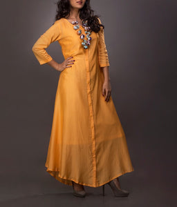 Long Dress with muli colour handcrafted piece