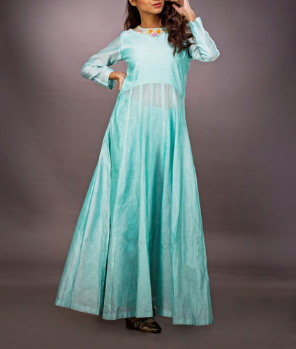 Chanderi gown with palazzo