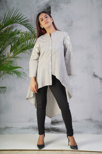 Grey Embroidered High-low Shirt
