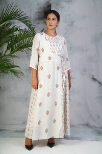 Off white embroidered yoke Dress