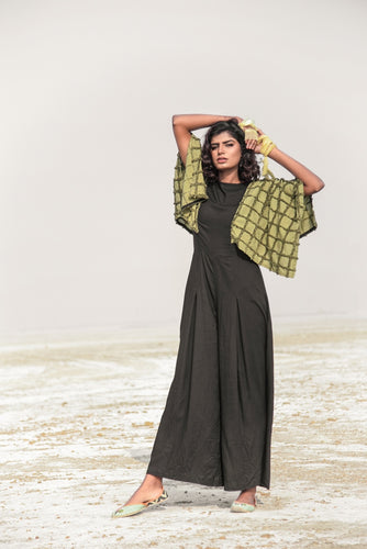 SQUARE SLEEVES JUMPSUIT - OLIVE GREEN