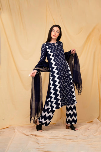 Navy Chevron Embroidered Kurti set