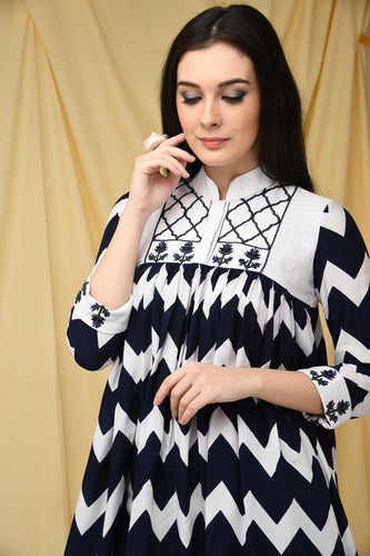 Assymetrical Navy Chevron Embroidered Kurti