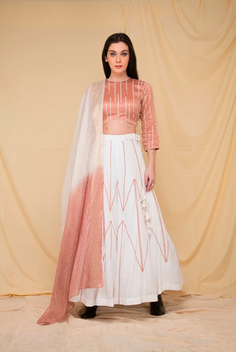 Ivory hand embroidered lehenga set