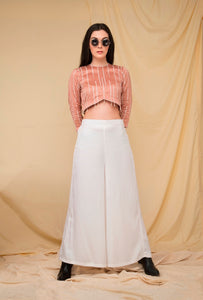 Blush hand embroidered crop top set