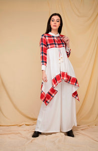 Red Plaid and Ivory Asymmetrical tent Kurti set