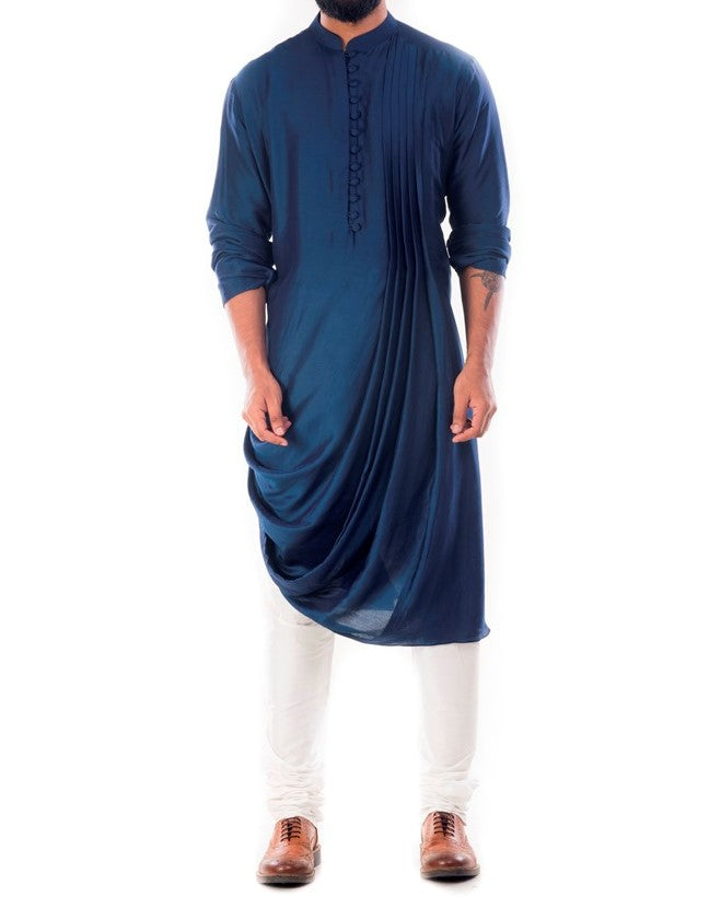 Royal Blue Cowl Drapped Kurta With Churidar Pants