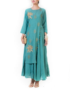 Teal Leaf Hand Embroidered Double Layer Gown