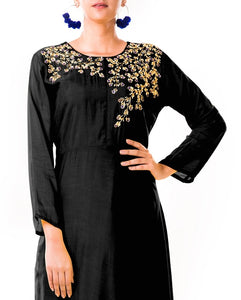 Hand Embroidered Black Bem Silk Tunic