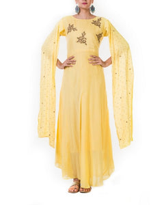 Yellow Hand Embroidered Flare Long Sleeve Gown
