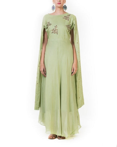 Green Hand Embroidered Flare Long Sleeve Gown