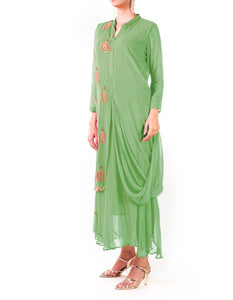 Mint Green Hand Embroidered Cowl Tunic Dress