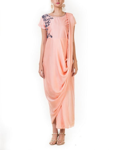 Embroidered Peach Drape Gown