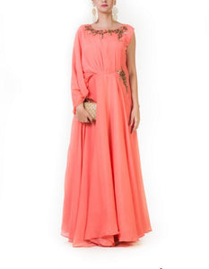 Orange Embroidered Drape Gown with an One Side Cowl Sleeve