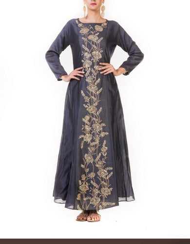 Hand Embroidered Dark Grey Anarkali Gown