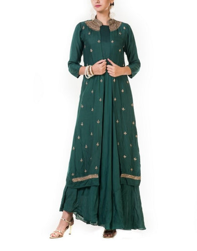 Bottle Green Leaf Embroidered Jacket & Gown
