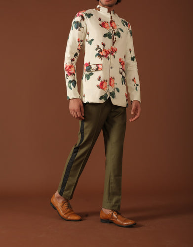 Floral blazer and Olive trousers