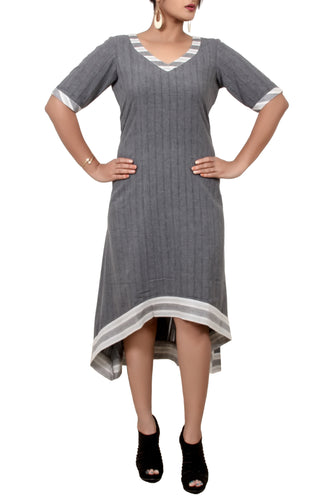 Stripped Asymetric cotton Dress