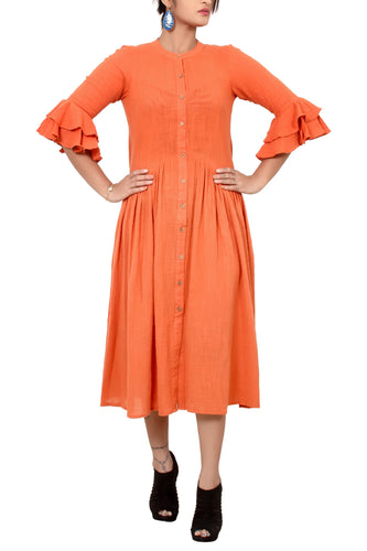 Cotton khadi bell sleeve dress.