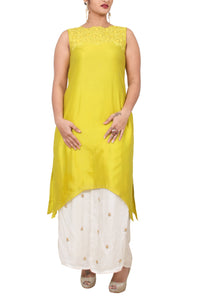 Chanderi cotton tunic with cutwork