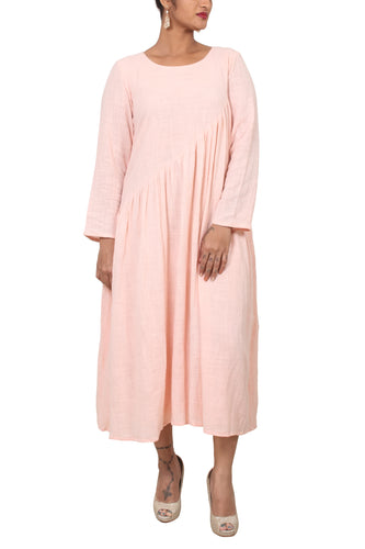 Slant gathered loose fit dress