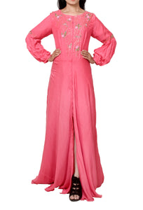 Pink muslin floor length tunic with pleat sleeves
