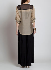 Very stylish beige and black shirt made from the best chanderi matrial